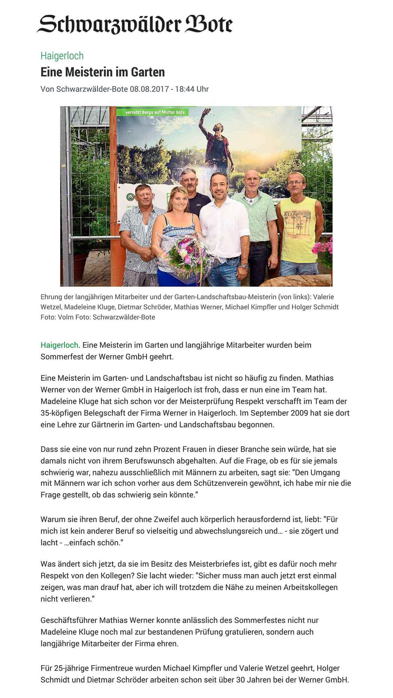 Werner GmbH Garten Landschaftsbau Haigerloch